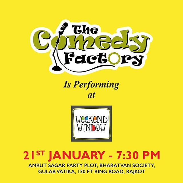 @thecomedyfactoryindia is going to perform at @beardo.official @weekendwindow - Rajkot 1st Edition Only venue entry tickets to be bought and no separate entry fee to be paid for the show. It is going to be one laughter riot. Come and have fun.  Artists: @instafunny_manan & @nautankideep Time Slot: 07:30 PM Onwards  Date: 20-21 January, 2018 Time: 4 PM to 11:00 PM Venue: Amrutsagar Party Plot, Rajkot  #weekendwindow #theFLEAstival #theunbeatable #shop #explore #indulge #fleamarket #workshops #love #BeardoWeekendWindow #Rajkotian #thecomedyfactory