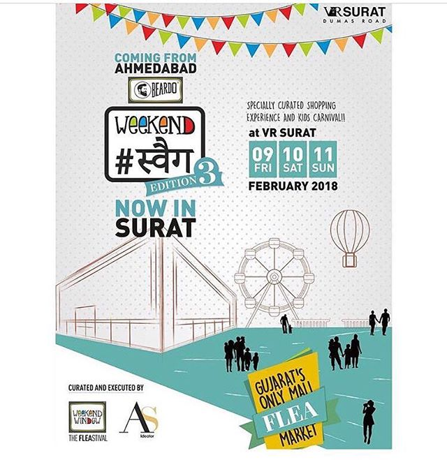 Surat, here we come!! Specially curated shopping experience with select exhibitors, food stalls and a kids carnival, Beardo Weekend Swag 3rd Edition is all set to get bigger and swagger!! ✨✨ Do contact us for participation and have brand presence at Surat's most happening mall, VR Surat Mall.  #Staytuned on this page for more exciting updates and #Seeyouall!