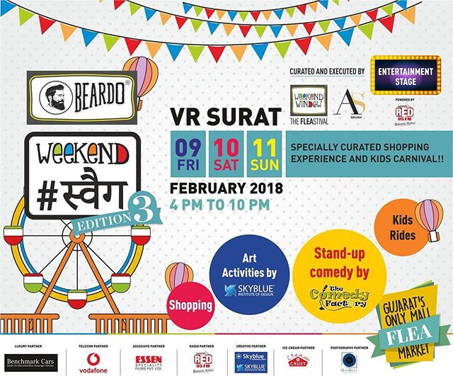 Beardo Weekend Swag, Gujarat's Only Mall Flea Market from Ahmedabad is coming to Surat!Do drop by for shopping, kids carnival, food and entertainment! See you this weekend at VR Surat ✨