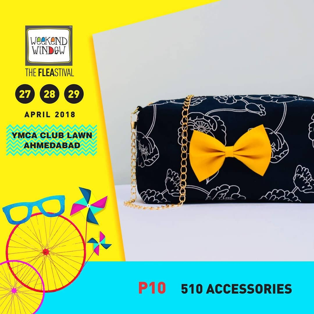 @510_fiveten is all about handmade accessories. Their product portfolio has some really cool summer designs in bows, pouches, scrapbooks, bow-ties, sunglasses case and much more. Check out their new summer trends at @weekendwindow - XIII Summer Edition on 27-28-29 April at @ymcaic.ahmedabad International Centre - from 4 PM Onwards.  #weekendwindow #theFLEAstival #accessories #knickknacks #trendy #handmade #summer