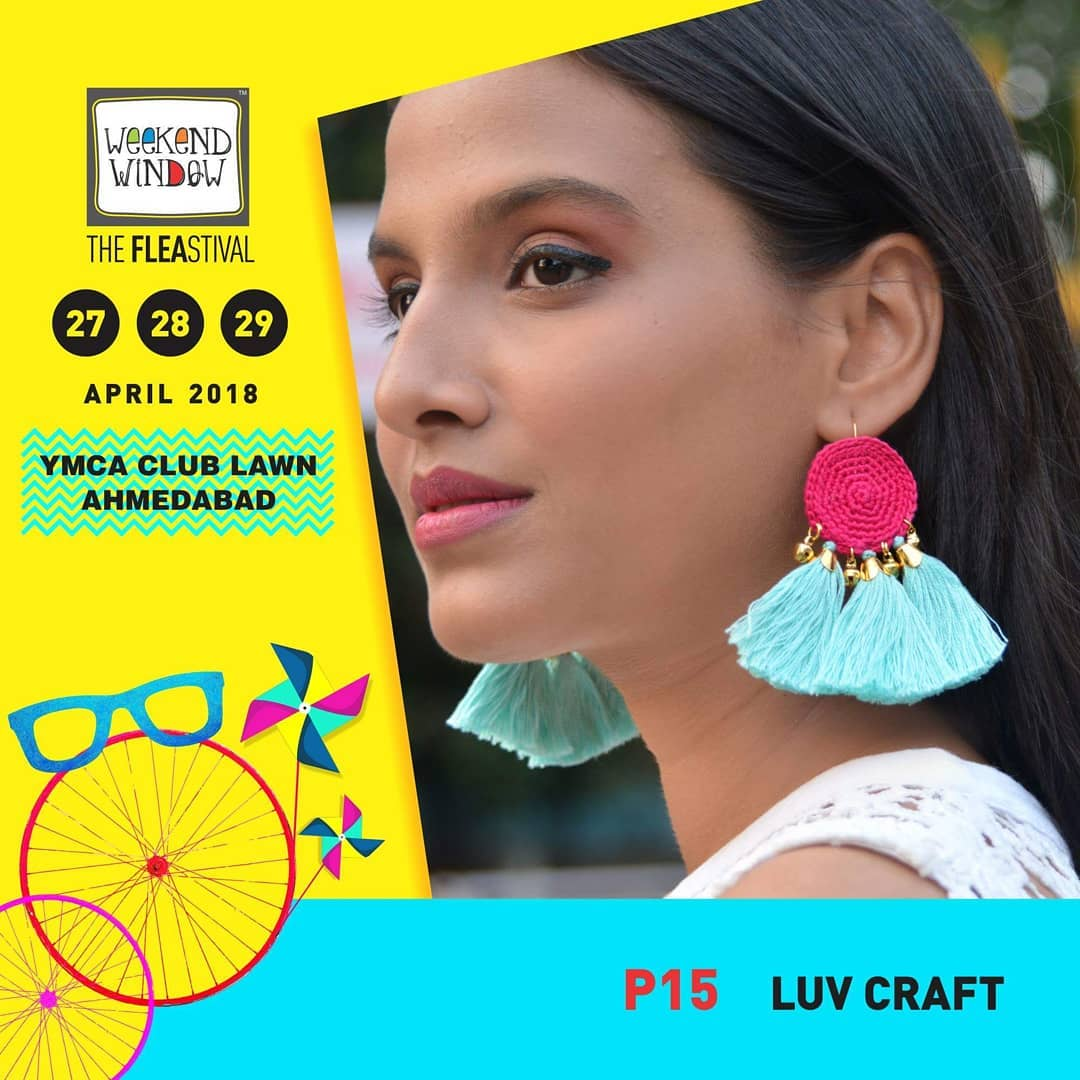 @luvcraft4u : a brand inspired from the Vintage art Crochet. It brings a special collection of Fusion earrings for the Modern You. The have a wide range of colours & patterns to choose, From casuals to formal to Ethnic wears - Luvcraft has a Variety of all.  27-28-29 April, YMCA Club Lawn, 4 PM Onwards  #weekendwindow #ww13 #summer #bright #handmade #fashionaccesories #fashionmusthaves #weekendwindow #fleamarket #happyshopping