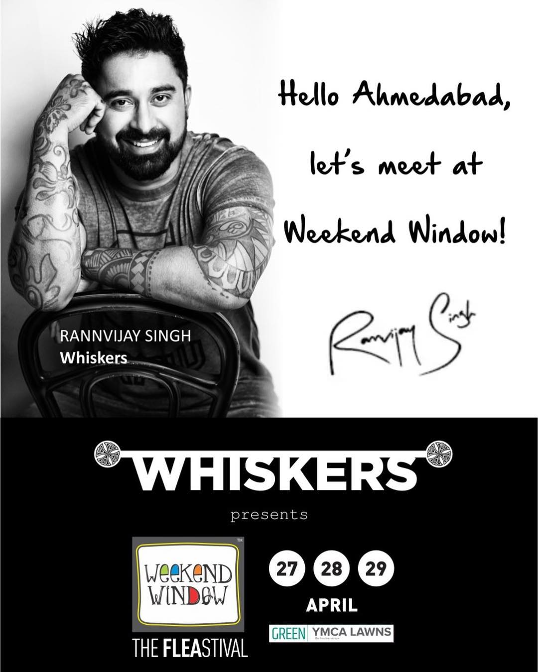 Drumrolls!!! We just can't hold our excitement! 🤩🤗🤘 Meet the true roadie, @rannvijaysingha ONLY at the biggest and happiest FLEAstival, Weekend Window presented by @whiskersformen  #weekendwindow #fleastival #RannvijaySingh #Whiskers #shop #meetandgreet #food #music #entertainment