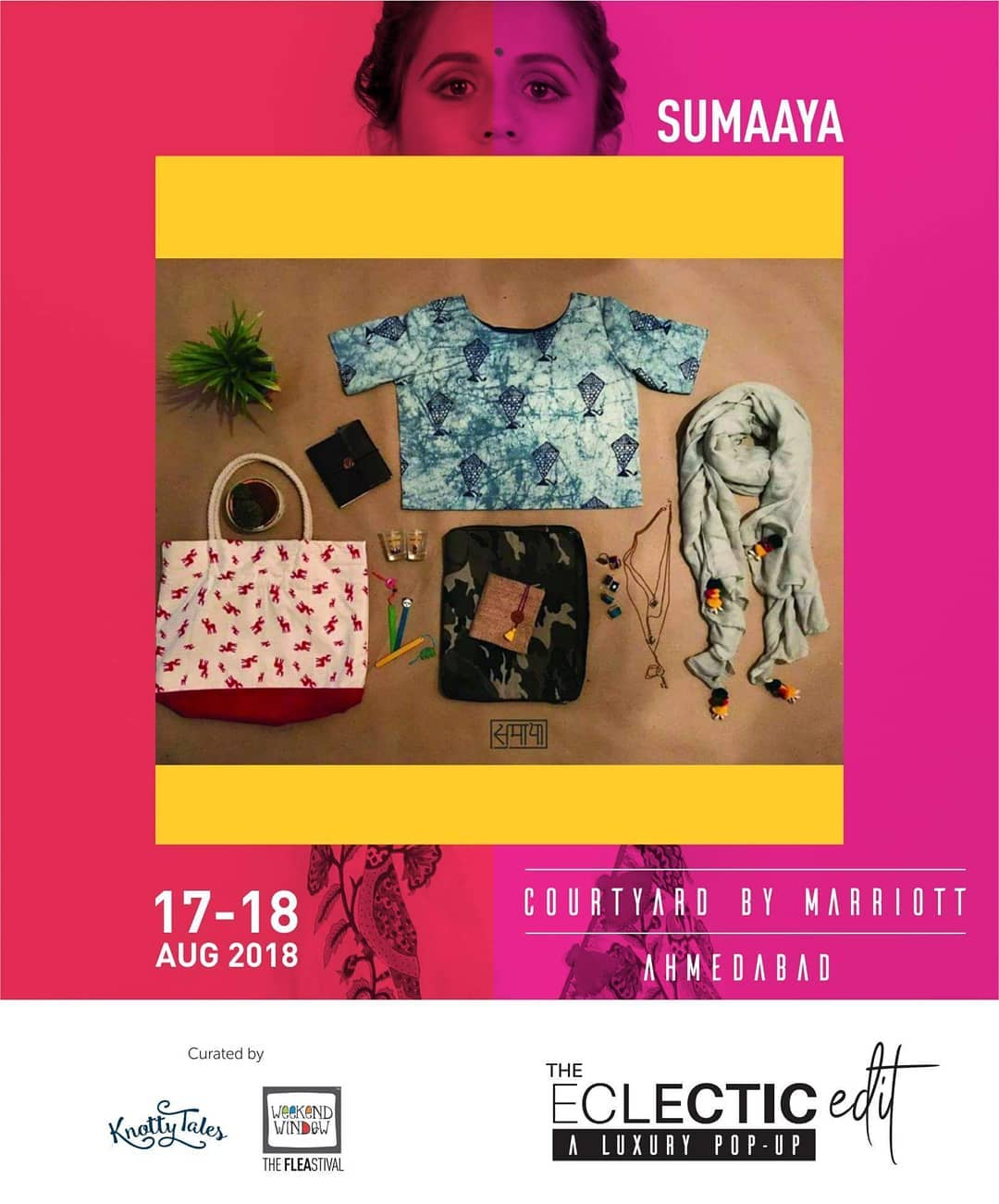 @_sumaaya04 is coming up with varity of products including block printed tops, scarves, hand bags, laptop covers, sketch books, diaries, book marks, neck pieces, earrings, rings and ceramics only at The Eclectic Edit - Season 3 curated by @knottytales_kt & @weekendwindow  on 17th-18th August at @cyahmedabad !  #ArtisticFashion #festivecollection #instafashion #weekendwindow #knottytales #countdownbegins #shoptillyoudrop #sumaaya