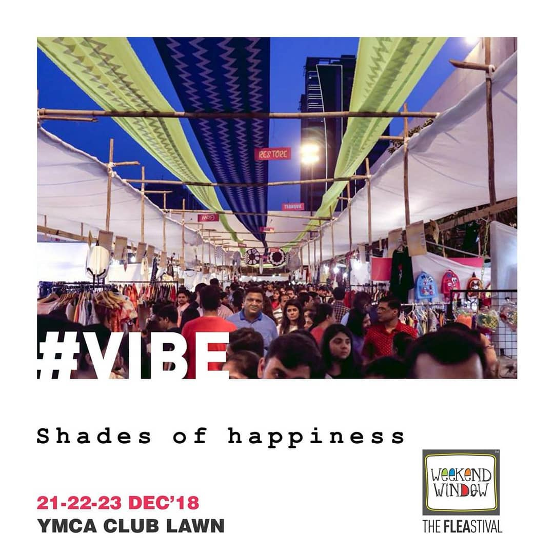 Experience shades of happiness at the Happiest Place to Be this winter!  Weekend Window <3  Date: 21-22-23 December, 2018 Venue: YMCA Club Lawn, Ahmedabad Timing: 4 pm to 11 pm  #vibe #weekendwindow #fleamarket #shopping #fashion #jewelery #fashionaccesories #musthaves #designerwear #fleastival #countdownbegins