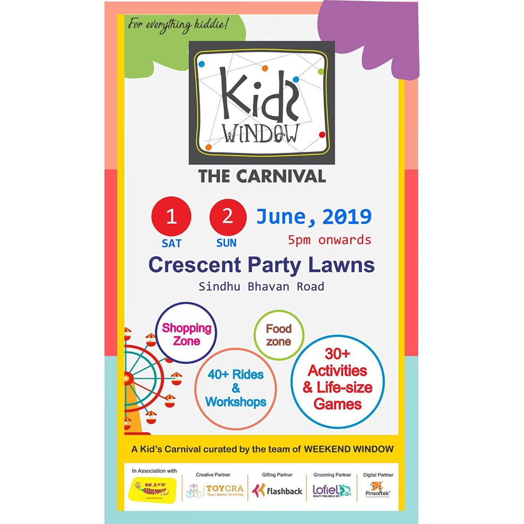 For the first time in history, we promise you the best time for your little ones guaranteed!! 🥁🎉 This is going to be a super fun carnival for kids! Loads of shopping and Food... Come and have a blast! 🍭  #kidswindow #ahmedabadevents #summer #happyfaces #ahmedabadmoms #momsofahmedabad #shoppersparadise #foodheaven #music #vibe #memoriesforlife