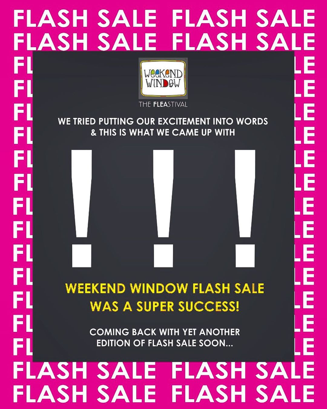 We are overwhelmed and how! THANK YOU AHMEDABAD!! 💕 . . . . #weekendwindow #flashsale #happiness #discounts #flat50 #crazyshopping #shoptillyoudrop #windowtohappiness