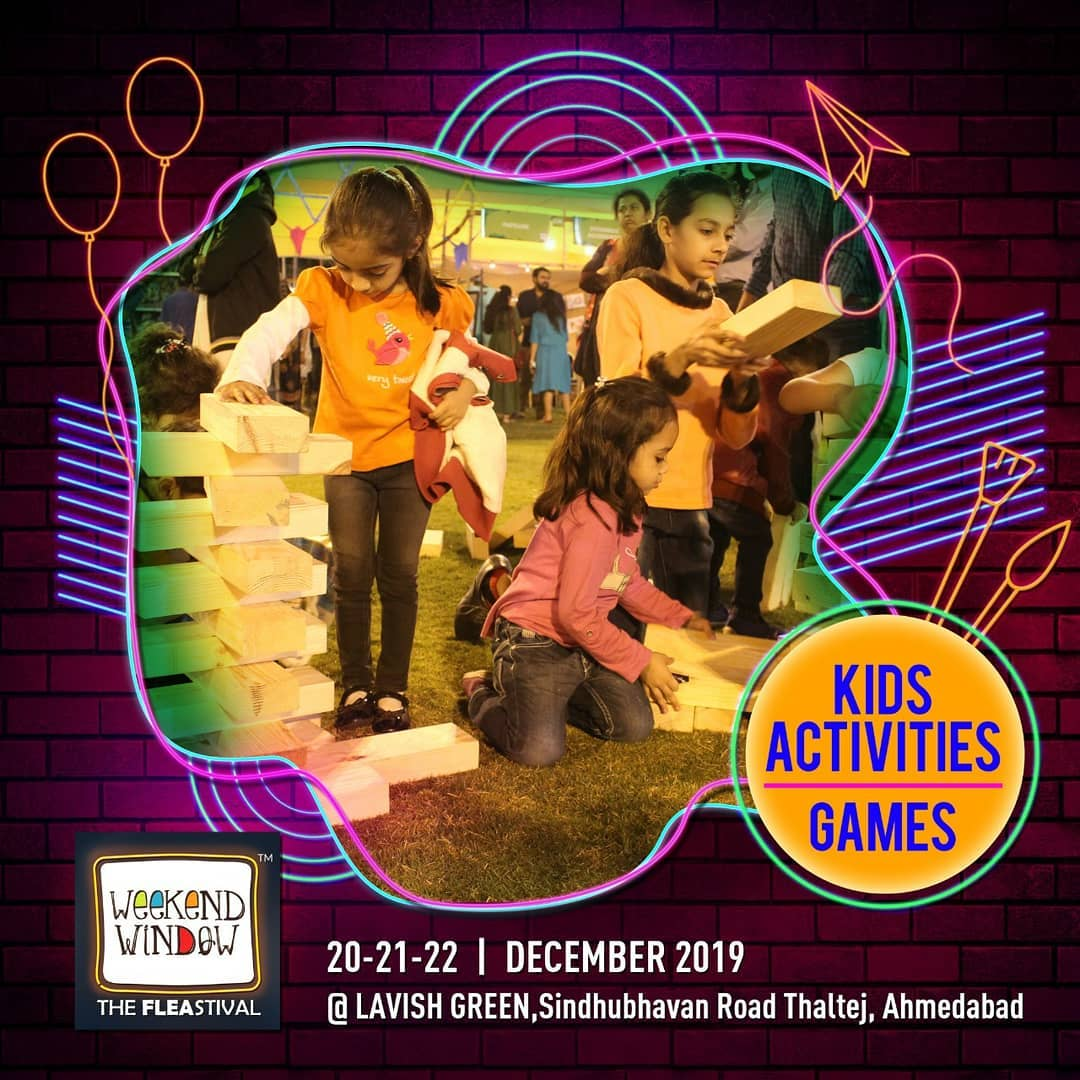 Kids should have all the fun! Bring your younger ones and have play dates, workshops and a whole lot more! . . Date: 20-21-22 December, 2019 Venue: Lavish Greens, Opp. Juggernaut Cafe, Sindhu Bhavan Road. . . #weekendwindow #windowtohappiness #music #art #shopping #apparels #lifestyle #theFLEAstival #memories #ahmedabad #events #weekendsinahmedabad #christmas #fleamarket