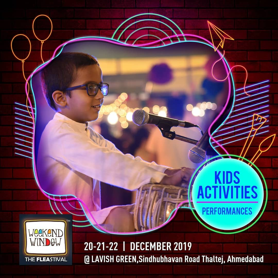 Kids should have all the fun! Bring your younger ones to showcase their talents, have play dates, workshops and a whole lot more! . . Date: 20-21-22 December, 2019 Venue: Lavish Greens, Opp. Juggernaut Cafe, Sindhu Bhavan Road. . . #weekendwindow #windowtohappiness #music #art #shopping #apparels #lifestyle #theFLEAstival #memories #ahmedabad #events #weekendsinahmedabad #christmas #fleamarket