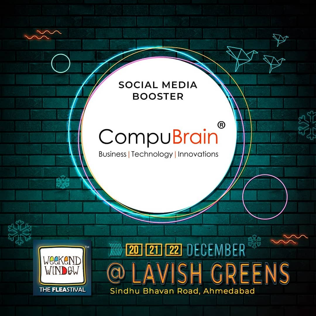 Weekend Window is happy to associate with @compubrain as our social media booster partner . . With amazing brand pop-ups, hogging stations, workshops, music and performances- this Weekend Window gets bigger, better and crazier. Mark your dates . . . . Date: 20-21-22 December, 2019 Venue: Lavish Greens, Opp. Juggernaut Cafe, Sindhu Bhavan Road . . #weekendwindow #windowtohappiness #music #art #shopping #apparels #lifestyle #theFLEAstival #memories #ahmedabad #events #weekendsinahmedabad